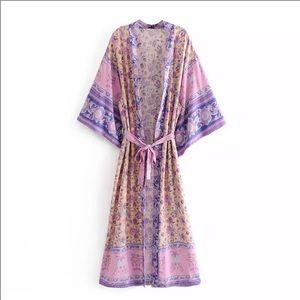 """The Stephanie"" Purple Floral Kimono"